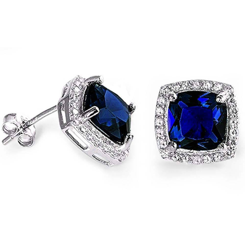 Sterling Silver Cushion Cut Blue Sapphire & Cubic Zirconia EarringsAnd Thickness 11mm