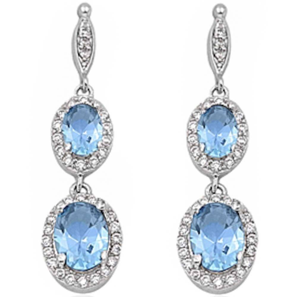 Sterling Silver Aquamarine & Cz Dangle Earrings