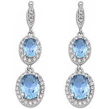 Load image into Gallery viewer, Sterling Silver Aquamarine & Cz Dangle Earrings