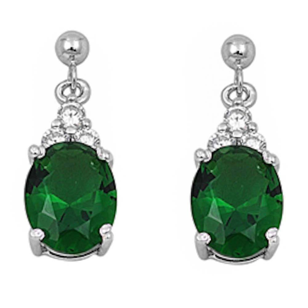 Sterling Silver Dangling Oval Emerald & Cz Earrings