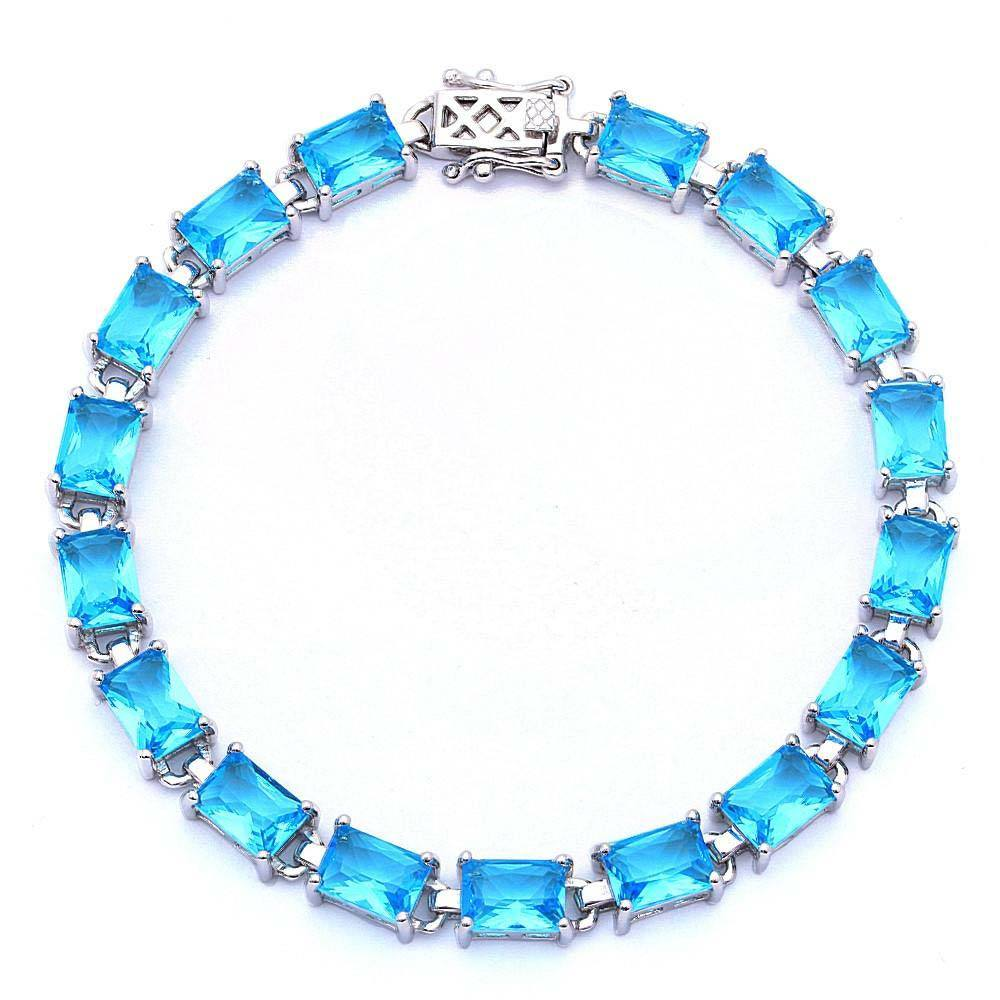 Sterling Silver 17.50ct Radiant Cut Blue Cz Bracelet 7 1/4