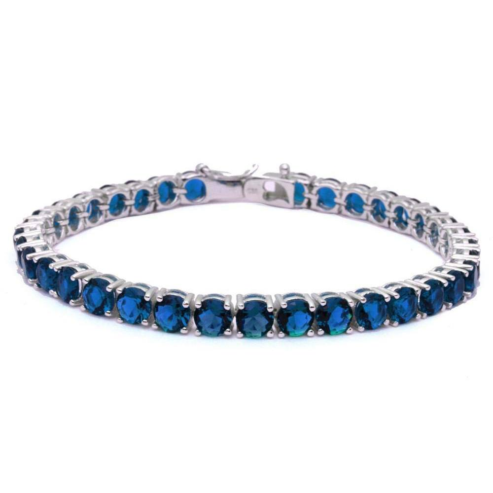 Sterling Silver 14.5CT Deep Blue Sapphire Fashion Bracelet 7.5  long