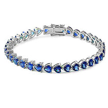 Load image into Gallery viewer, Sterling Silver Blue Sapphire Heart Cz Gemstone Bracelet Solid