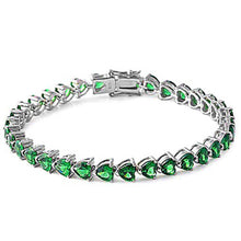 Load image into Gallery viewer, Sterling Silver Green Emerald Heart Cz Gemstone Bracelet Solid