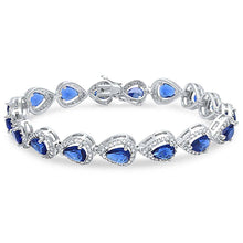 Load image into Gallery viewer, Sterling Silver Blue Sapphire & Cubic Zirconia Bracelet
