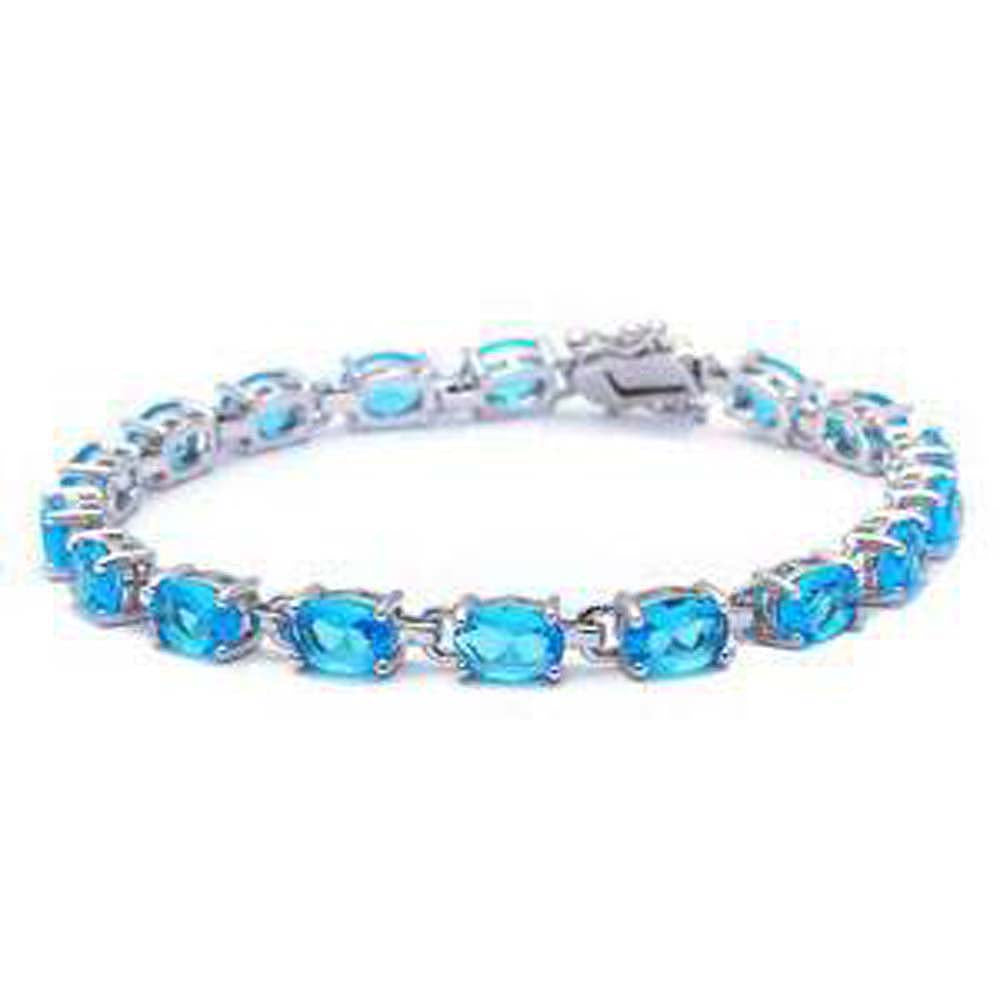 Sterling Silver 13.5CT Oval Cut Elegant Blue Topaz Bracelet