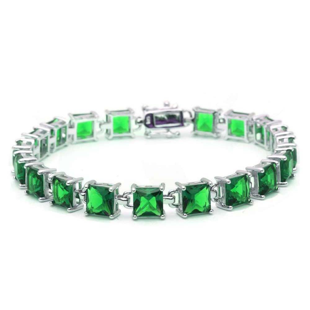 Sterling Silver 24CT Princess Cut Green Emerald Bracelet