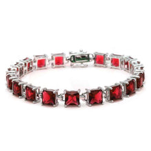 Load image into Gallery viewer, Sterling Silver 24CT Princess Cut Garnet Bracelet