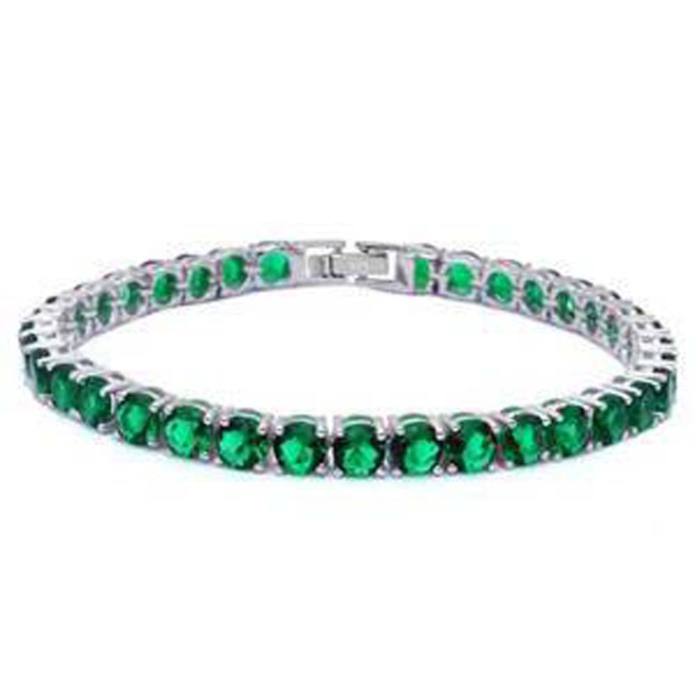 Sterling Silver 14.5CT Round Green Emerald Bracelet