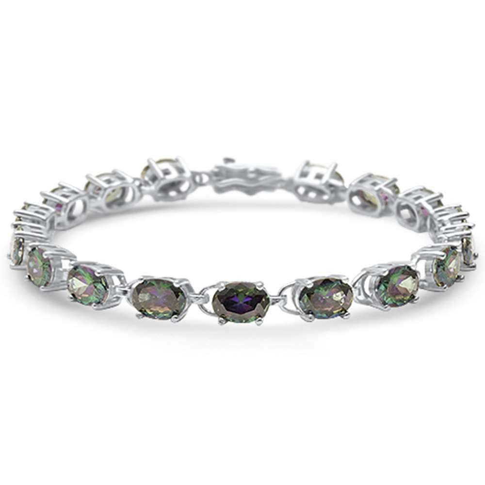 Sterling Silver 13.5CT Oval Rainbow Topaz Bracelet
