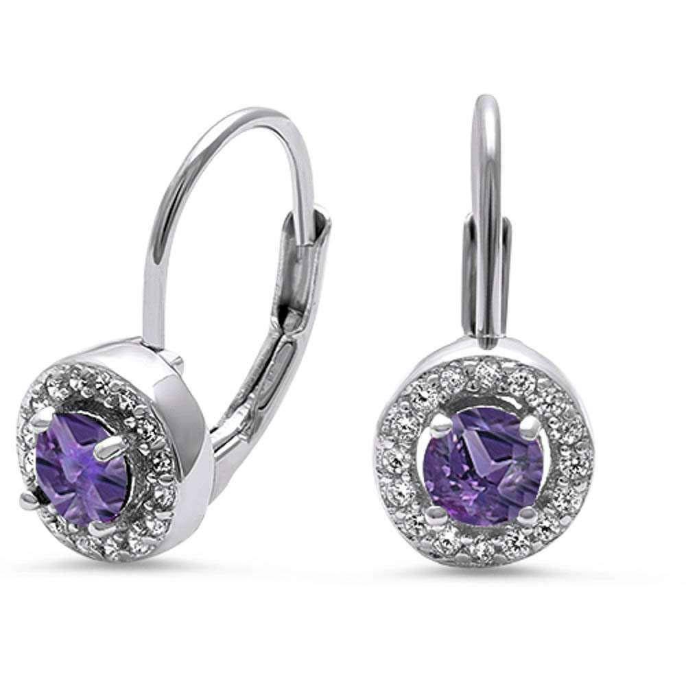 Sterling Silver Halo Amethyst And Cz Heart Earrings