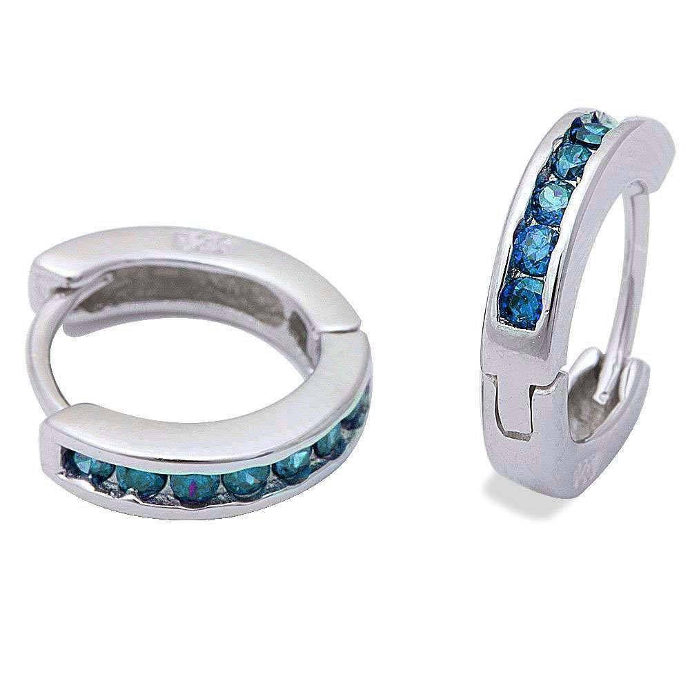 Sterling Silver Round Blue Topaz Hoop EarringsAnd Thickness 3mmx13.5mm