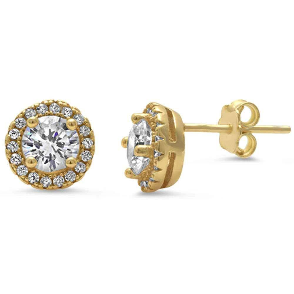 Sterling Silver Yellow Gold Plated Halo Cz Earrings