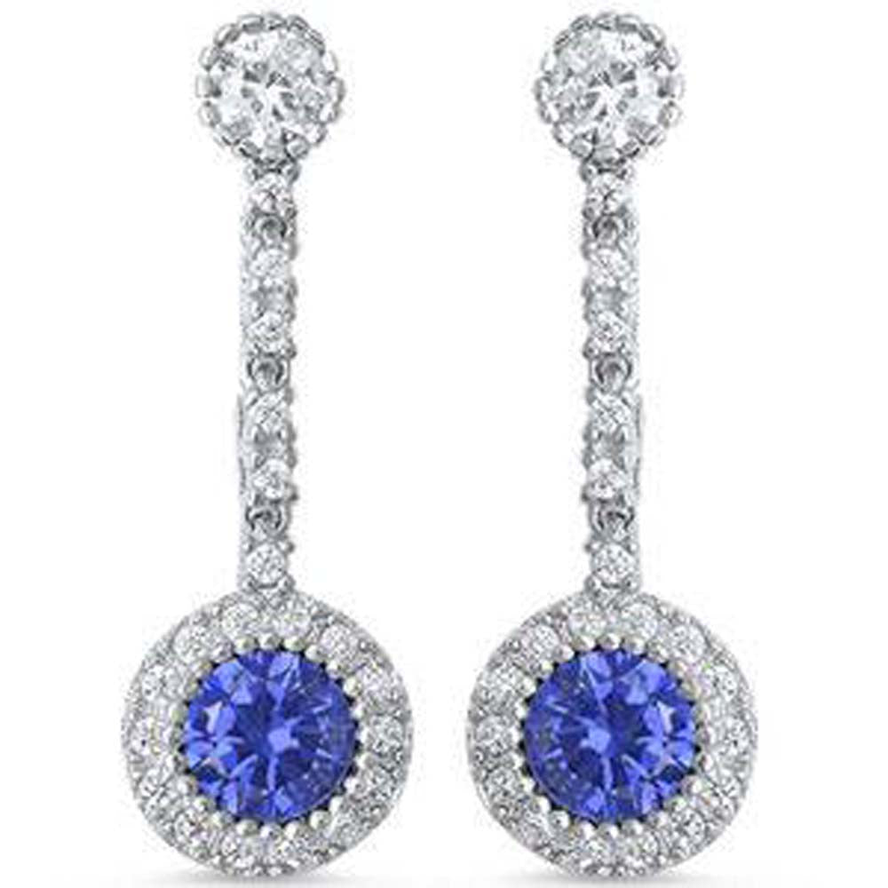 Sterling Silver Dangle Style Cubic Zirconia And Tanzanite Round EarringsAnd Thickness 9mm