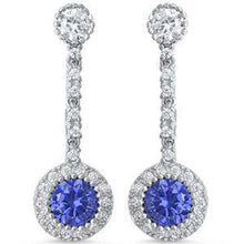 Load image into Gallery viewer, Sterling Silver Dangle Style Cubic Zirconia And Tanzanite Round EarringsAnd Thickness 9mm