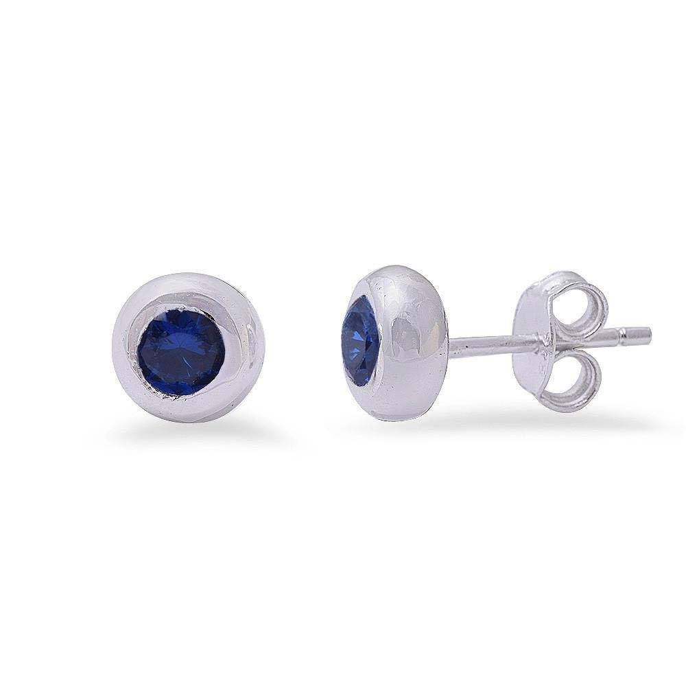 Sterling Silver Blue Sapphire Bezel Studs EarringsAnd Thickness 7mm