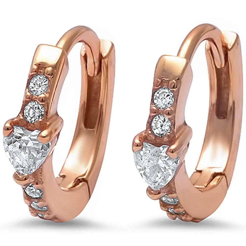 Sterling Silver Rose Gold Plated Heart & Round Cz Hoop EarringsAnd Thickness 12mm