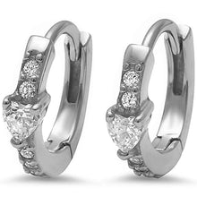 Load image into Gallery viewer, Sterling Silver Heart & Round Cz Hoop EarringsAnd Thickness 12mm