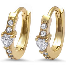 Load image into Gallery viewer, Sterling Silver Yellow Gold Plated Heart & Round Cz Hoop EarringsAnd Thickness 12mm