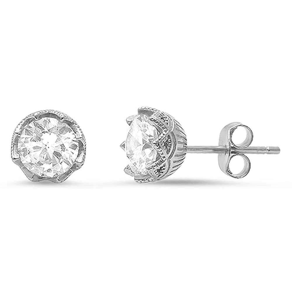 Sterling Silver Round Cz Solitaire Stud EarringAnd Thickness 7mm