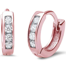 Load image into Gallery viewer, Sterling Silver Rose Gold Plated Small Baby CZ .925 EarringAnd Width 11mm