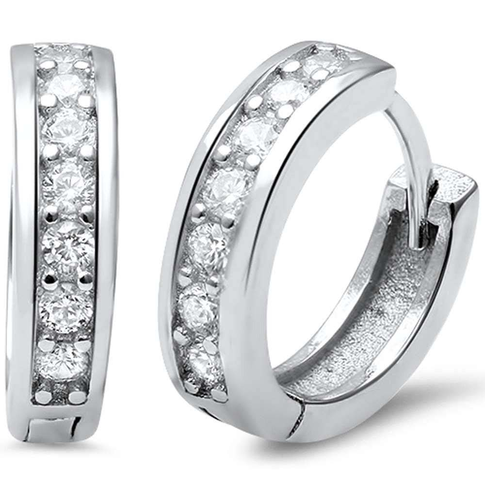 Sterling Silver Round CZ Hoop Huggie Earrings And Thickness 3mmx14mm