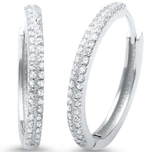 Load image into Gallery viewer, Sterling Silver Round Micro Pave CZ Hoop Earrings And Thickness 2mmx21mm