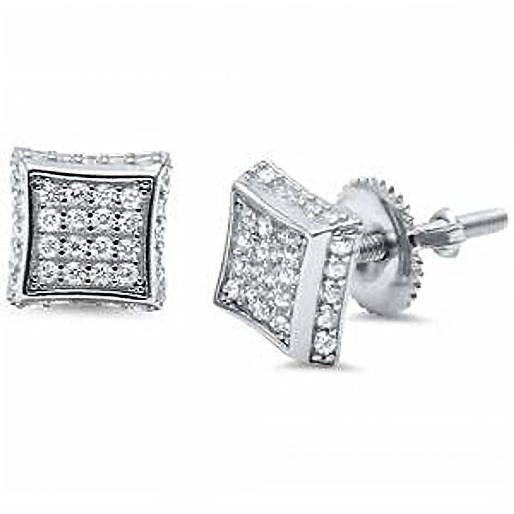 Sterling Silver Square CZ EarringsAnd Thickness 8mm