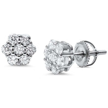 Load image into Gallery viewer, Sterling Silver Round 7 Stone Flower CZ EarringsAnd Thickness 8mm