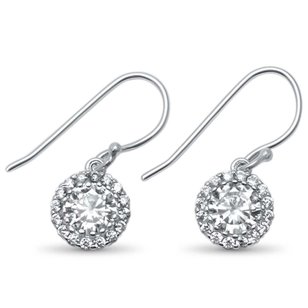 Sterling Silver Round Halo Solitaire Drop Dangle .925  EarringsAnd Width 8mm