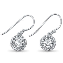 Load image into Gallery viewer, Sterling Silver Round Halo Solitaire Drop Dangle .925  EarringsAnd Width 8mm