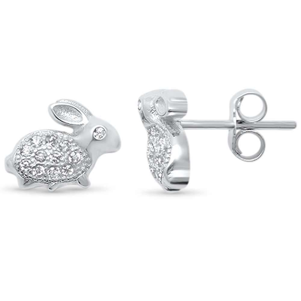 Sterling Silver Cute Bunny Rabbit Micro Pave Cubic Zirconia .925 EarringsAnd Width 10mm