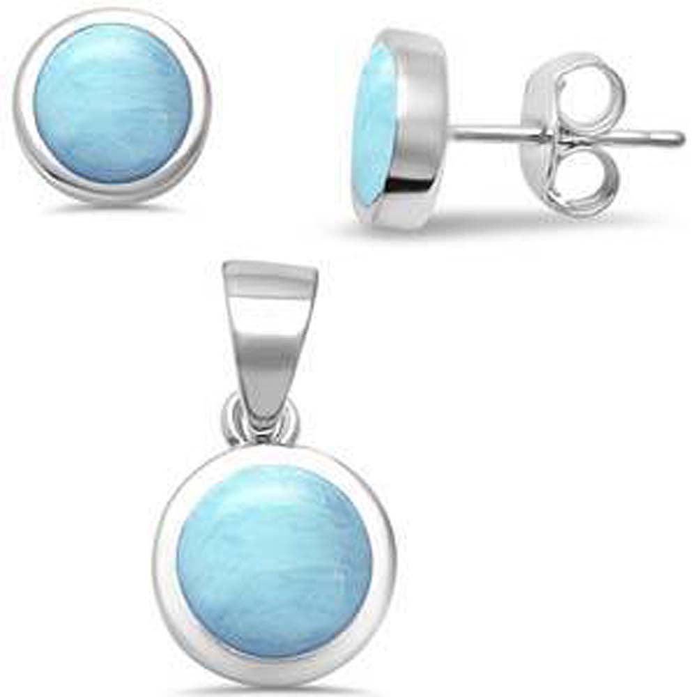Sterling Silver Larimar Earrings and Pendant Set