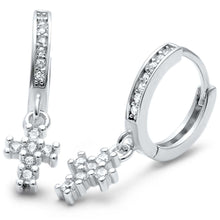 Load image into Gallery viewer, Sterling Silver Cubic Zirconia Cross Hoop .925 EarringAnd Width 12.36mm