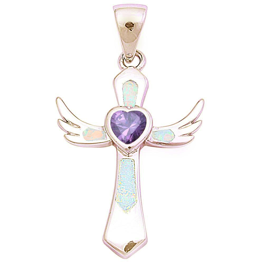 Sterling Silver Yellow Gold Plated White Opal and Amethyst Wings Cross Pendant