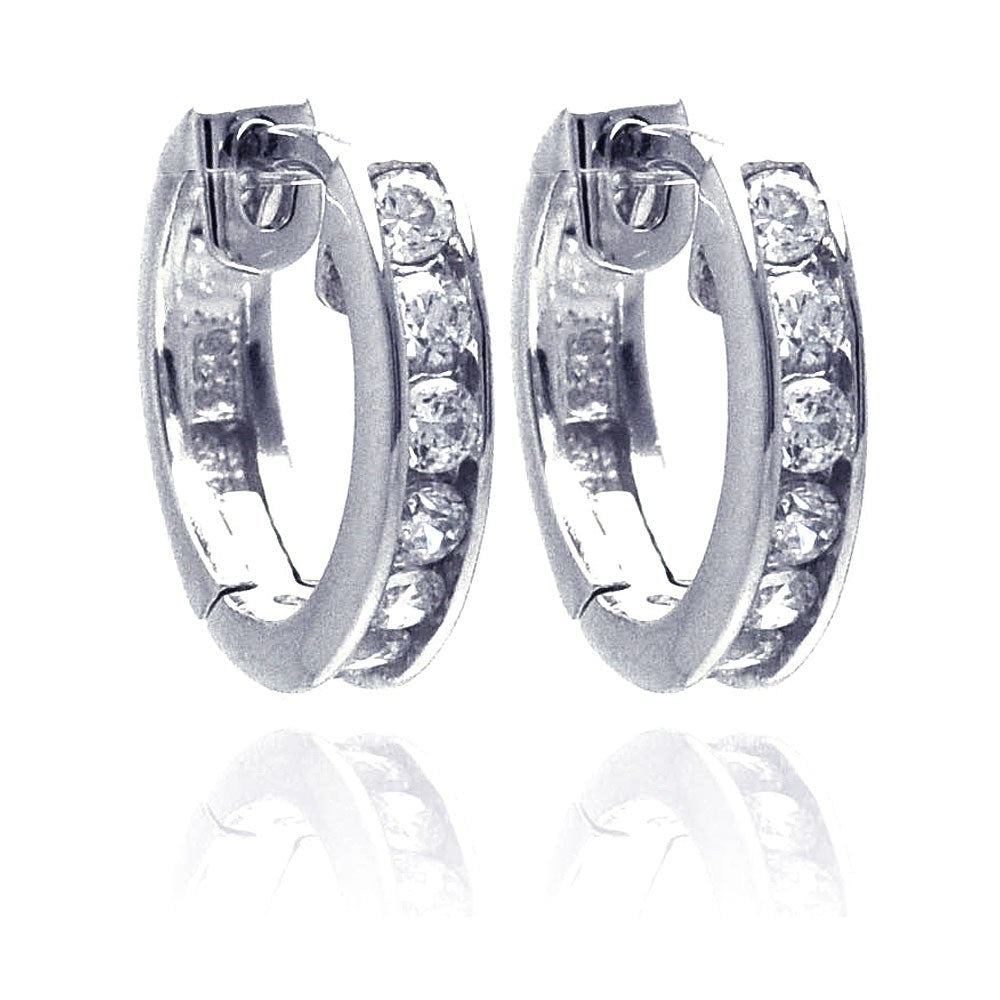 Sterling Silver Rhodium Plated Circle CZ  Hoop Earring