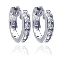 Load image into Gallery viewer, Sterling Silver Rhodium Plated Circle CZ  Hoop Earring