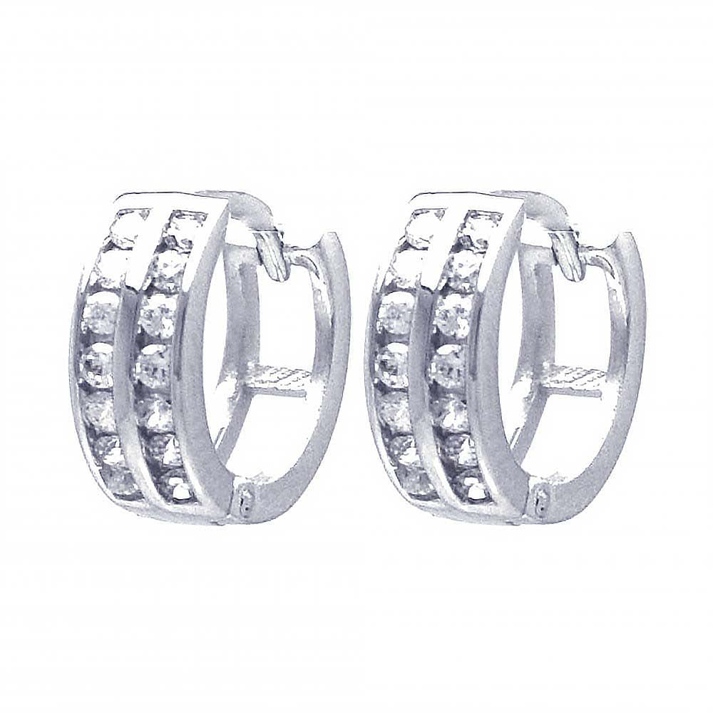 Sterling Silver Nickel Free Rhodium Plated Round Shaped Huggie Earrings With CZ Stones