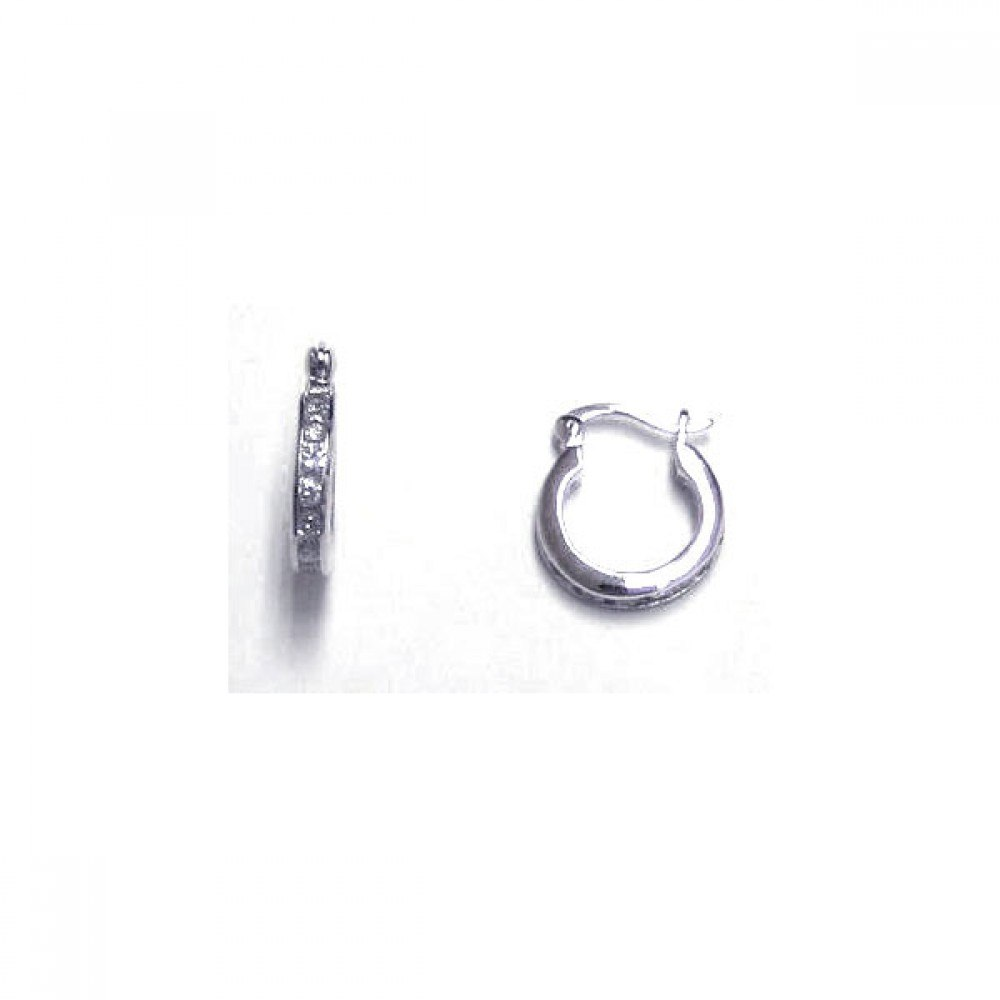Sterling Silver Rhodium Plated Channel Clear CZ Huggie Earrings