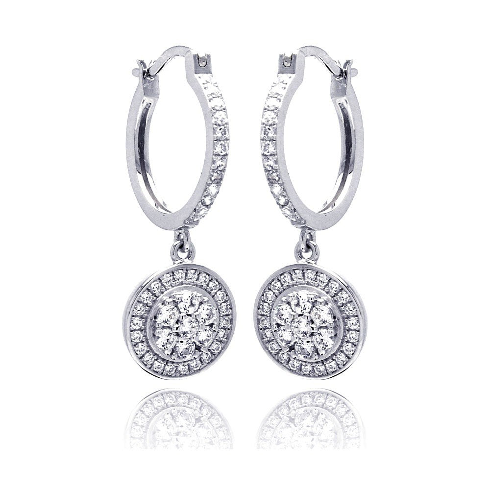 Sterling Silver Rhodium Plated Micro Pave Clear Round CZ Wire Dangling Huggie Earrings