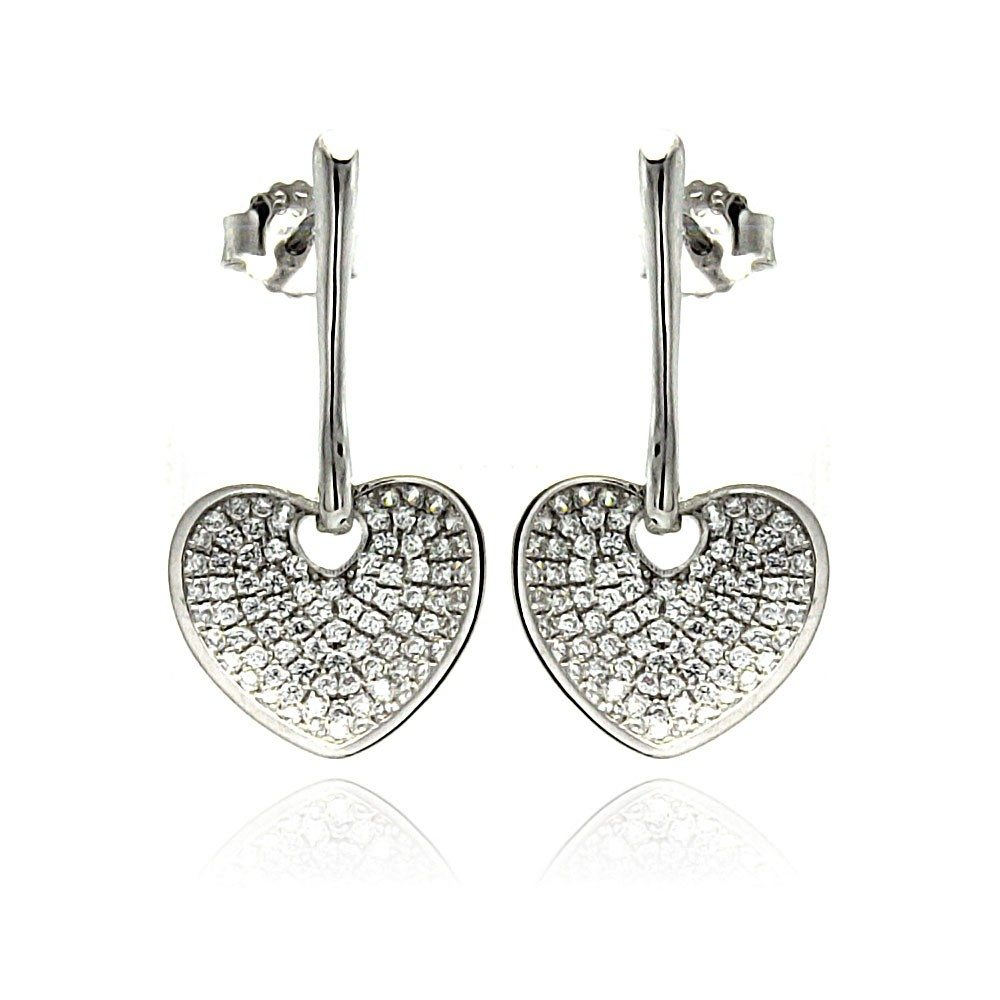 Sterling Silver Rhodium Plated Micro Pave Clear Heart CZ Dangling Stud Earrings