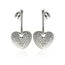 Load image into Gallery viewer, Sterling Silver Rhodium Plated Micro Pave Clear Heart CZ Dangling Stud Earrings