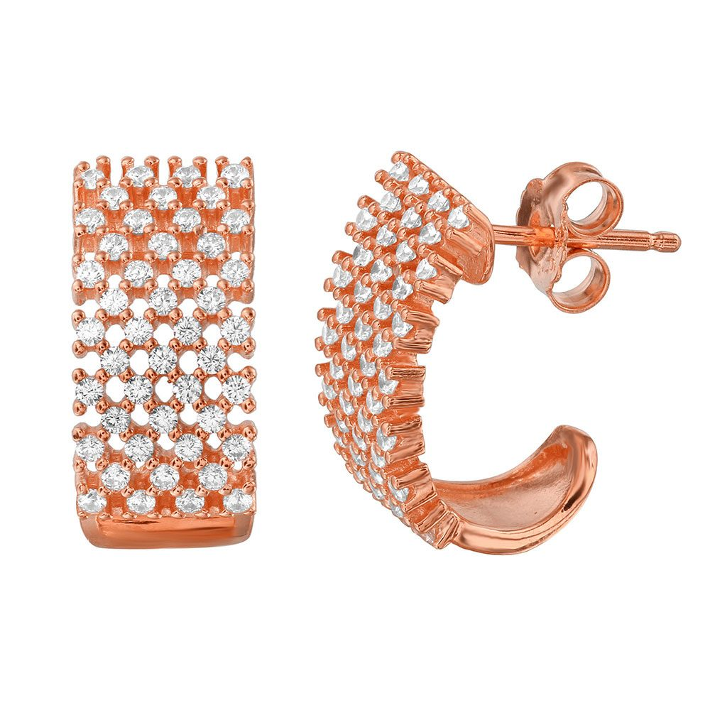 Sterling Silver Nickle Free Rose Gold Plated Thick Checkered CZ Semi Huggie Earrings
