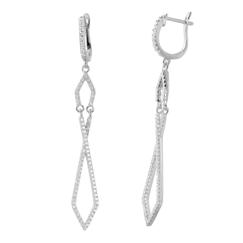 Sterling Silver Rhodium Plated Fancy Micro Pave Twisted Shaped U-Hoop Earring