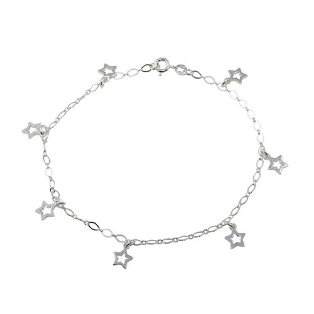 Sterling Silver Non Plated Open Star Dangling Charm Link Anklet