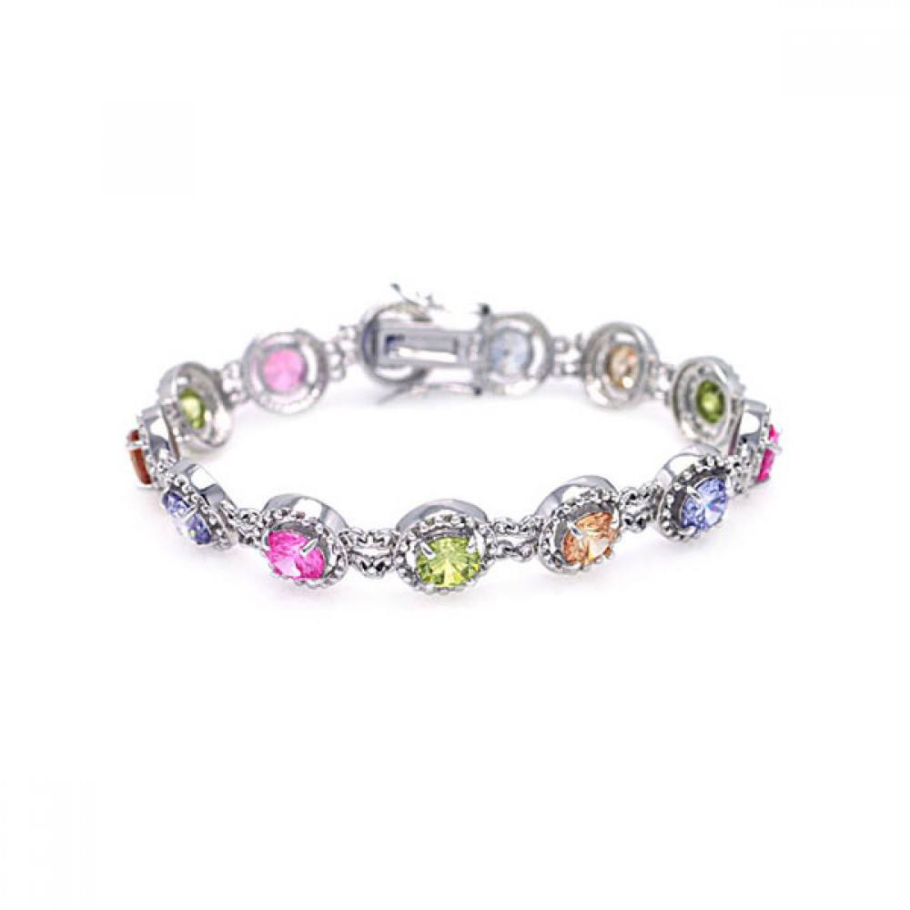 Sterling Silver Rhodium Plated Multiple Multicolor Round CZ Bracelet