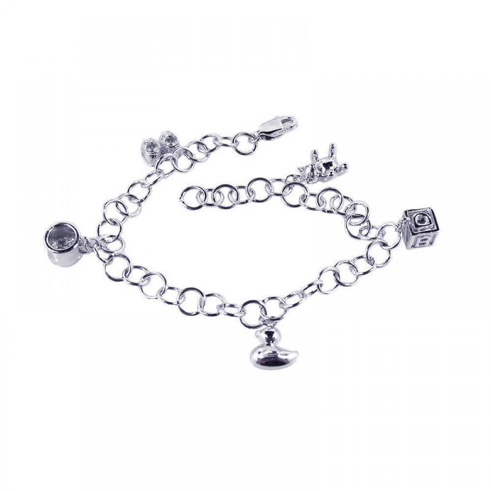 Sterling Silver Rhodium Plated Multiple Dangling Objects CZ Bracelet