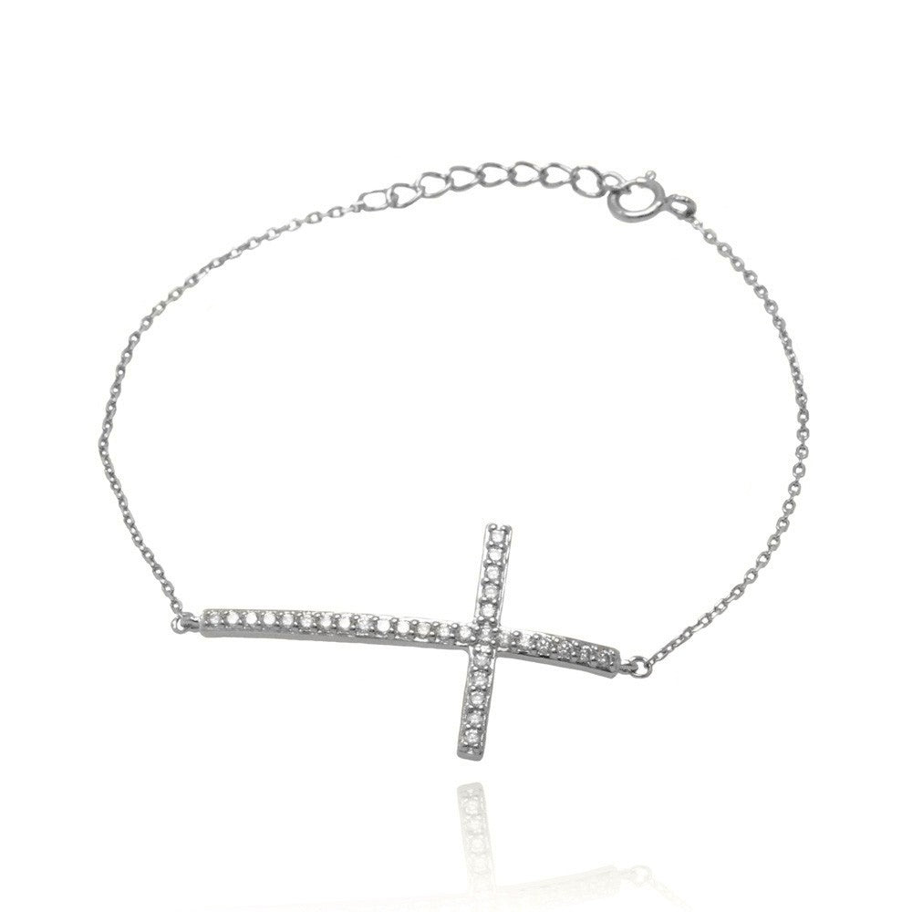 Sterling Silver Bracelet with Sideways Cross Charm Paved with Clear Simulated Diamonds