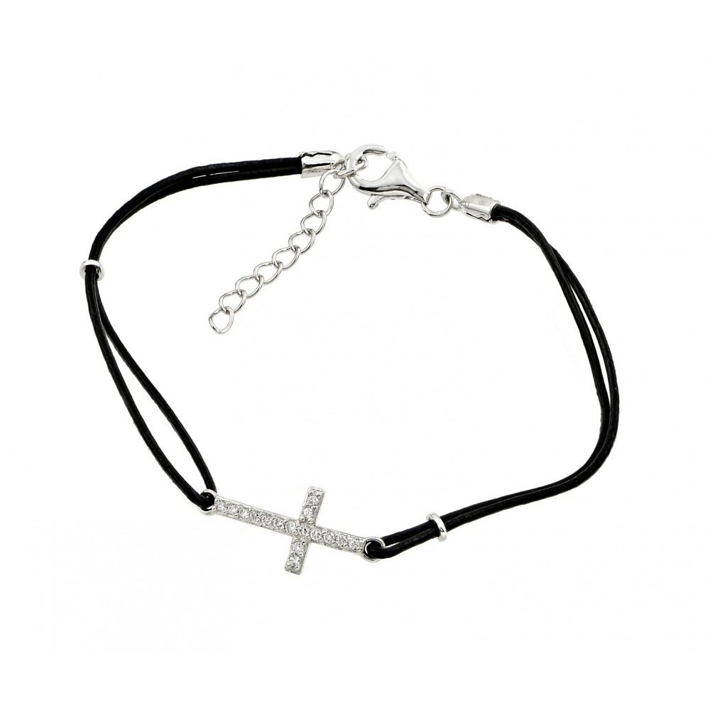 Black Leather Cord Bracelet with Sterling Silver Sideways Cross Charm Paved with Clear Simulated Diamonds