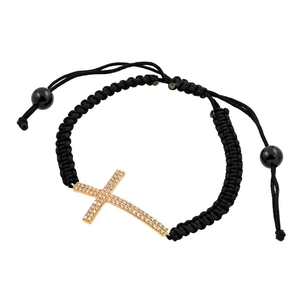 Black Braided Cord Bracelet with Sterling Silver Yellow Gold Plated Sideways Cross Charm Paved with Clear Simulated Diamonds